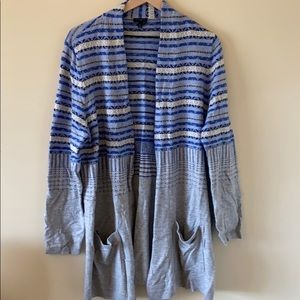 Blue and Gray patterned Talbots Woman Cardigan